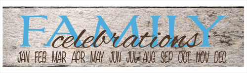 Family Celebrations Vinyl Decals Sticker, Great for a DIY Board Ice Blue ChBrown
