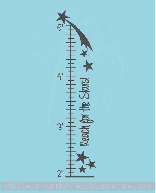 Reach for the Stars Growth Chart Wall Art Decal Sticker for Room Décor
