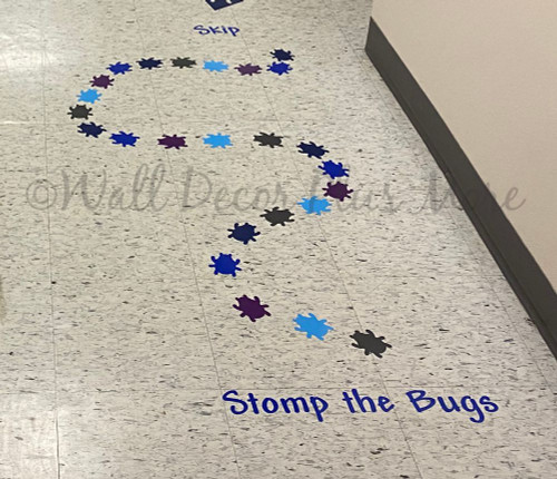 Sensory Path Floor Decal Stickers Stomp Bugs School Hallway Activity Blue Plum Ice