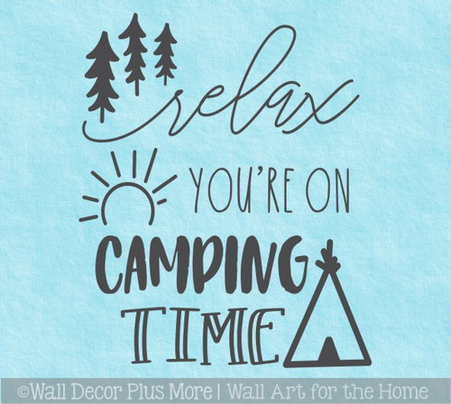 Camper Decals Relax You're On Camping Time Wall Art Decor Sticker Letters