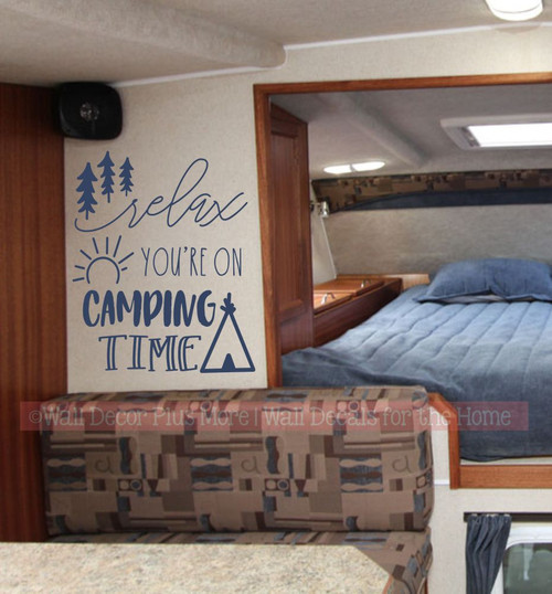 Camper Decals Relax You're On Camping Time Wall Art Decor Sticker Letters-Deep Blue