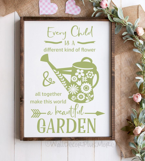 School Decal Wall Stickers Every Child Different Flower Beautiful Garden-Celadon