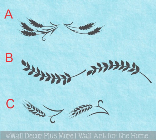 Wheat Stalks Farm Wall Decal Decorative Farmhouse Art Vinyl Sticker 3 options