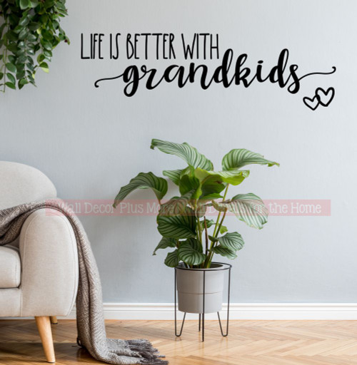 Life is Better with Grandkids Wall Decal Quote Sticker Decor Words-Black
