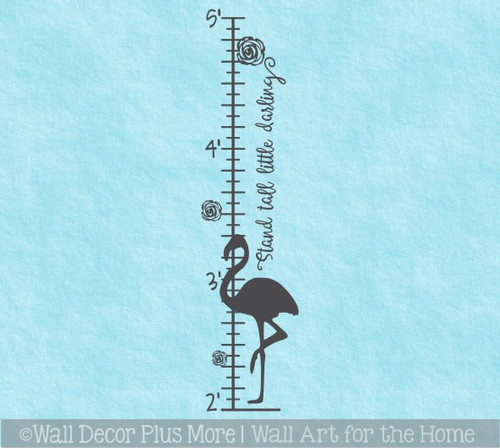 Flamingo Growth Chart Baby Girls Height Ruler Wall Decal Art Sticker