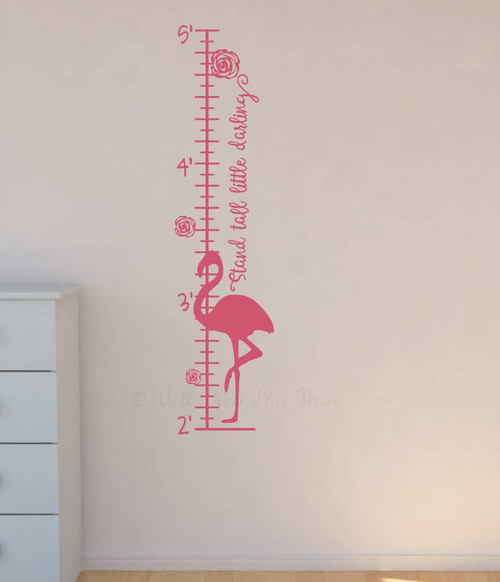 Flamingo Growth Chart Baby Girls Height Ruler Wall Decal Art Sticker-Soft Pink
