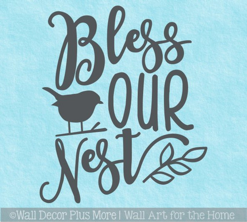 Bless Our Nest Bird Leaf Wall Art Quote Decal Vinyl Lettering Sticker