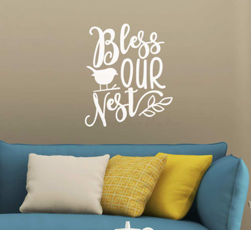 Bless Our Nest Bird Leaf Wall Art Quote Decal Vinyl Lettering Sticker-White