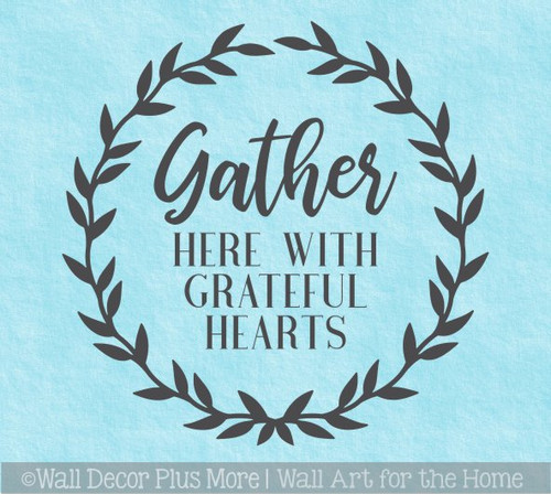 Decal for Circle Wood Sign Gather Here Grateful Hearts Fall Art Sticker
