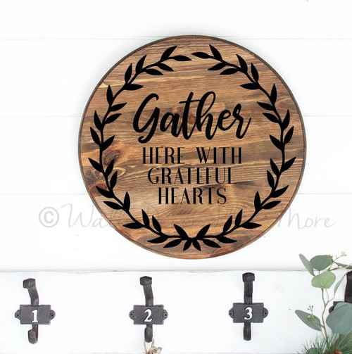 Decal for Circle Wood Sign Gather Here Grateful Hearts Fall Art Sticker-Black