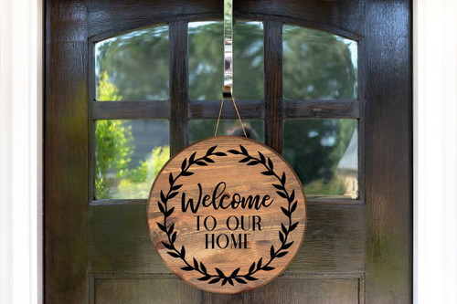 Decal for Round Wood Sign Welcome To Our Home Wreath Porch Decor Sticker-Black
