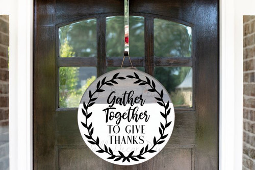 Decal for Circle Wood Sign Gather Together Give Thanks Fall Porch Decor-Black