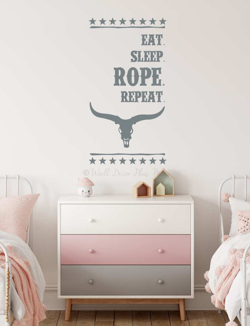 Eat Sleep Rope Repeat Western Quote Room Wall Art Decal Words Sticker-Storm Gray
