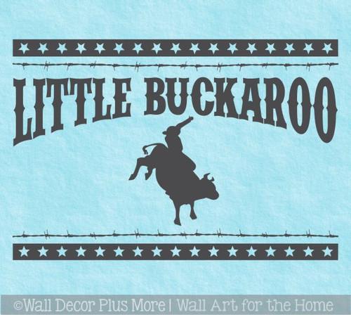 Western Wall Art Decal Sticker Little Buckaroo Barbed Wire Stars Decor