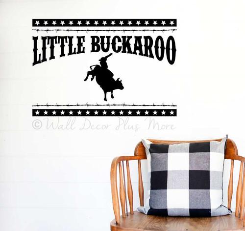 Western Wall Art Decal Sticker Little Buckaroo Barbed Wire Stars Decor-Black