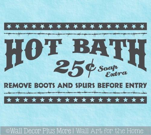 Western Bath Room Decor Sticker Hot Bath 5c Remove Boots Spurs Decal Art