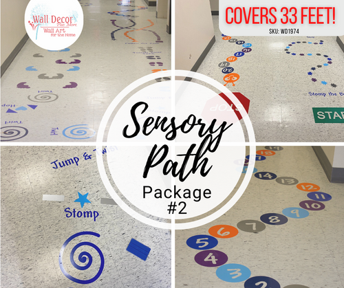 Sensory Path Package Floor Decal Stickers School Hallway Art Twirls Caterpillar Alphabet more