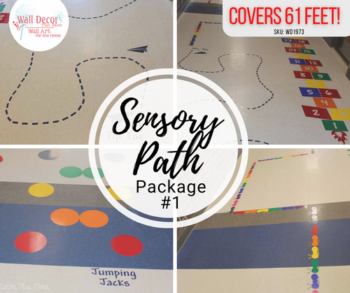 Sensory Path Package Floor Decal Stickers School Hallway Art Dots Hopscotch Ants and more