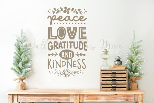 Peace Love Gratitude Kindness Wall Decal Quote Sticker Home Decor Art-Tumbleweed