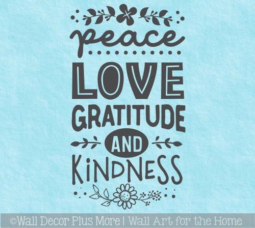 Peace Love Gratitude Kindness Wall Decal Quote Sticker Home Decor Art