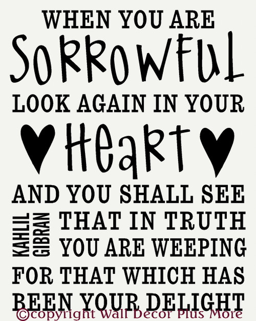 Sorrowful Look Again in your Heart Wall Sticker Saying Quote Memorial Phrase
