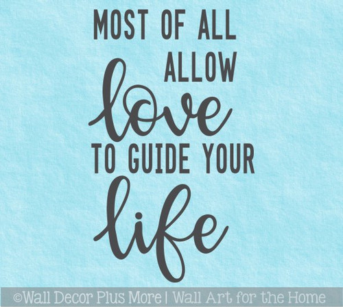 Bedroom Wall Art Quotes Allow Love to Guide Your Life Wall Decal Sticker