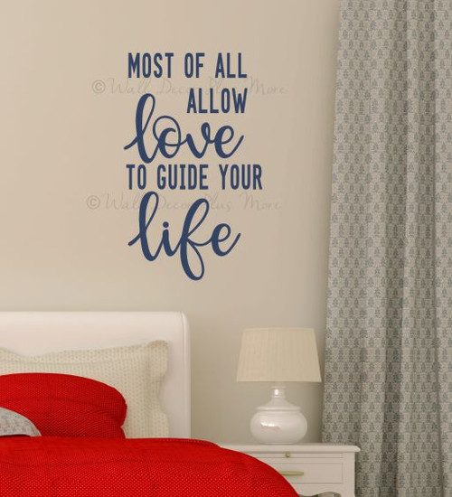 Bedroom Wall Art Quotes Allow Love to Guide Your Life Wall Decal Sticker-Deep Blue