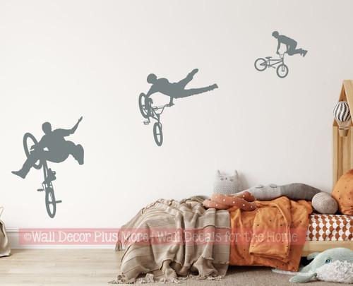 BMX Biker Silhouette Wall Decal Sticker Boys Room Decor Storm Gray