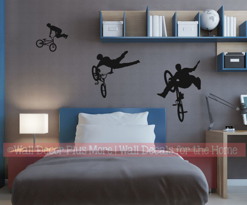 BMX Biker Silhouette Wall Decal Sticker Boys Room Decor Black