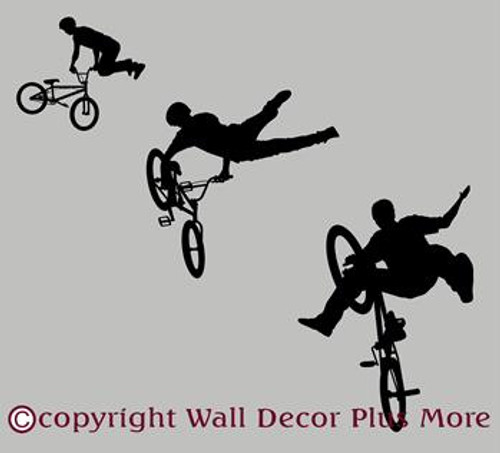 BMX Biker Silhouette Wall Decal Sticker Boys Room Decor