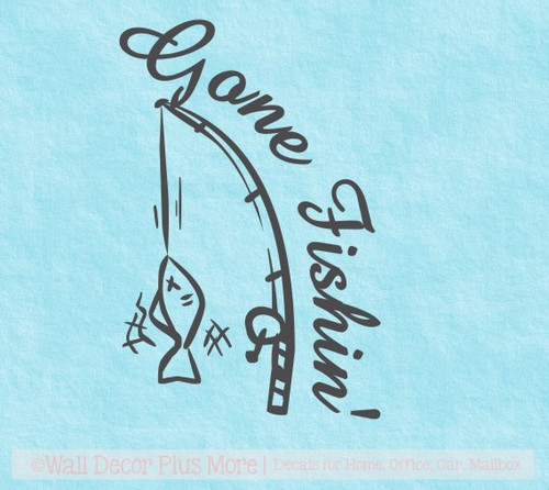 Gone Fishin' Wall Decal Stickers with Fishing Pole Art Camper RV Words for Décor