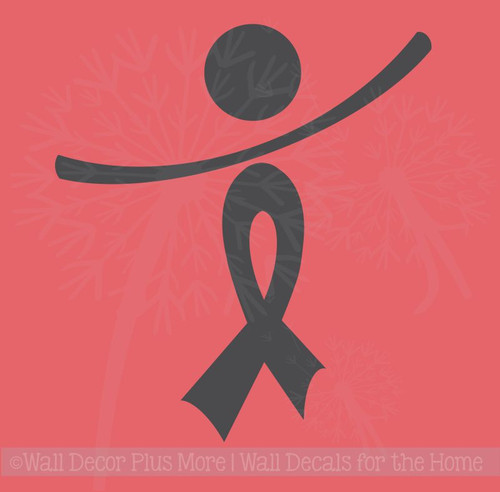 Cancer Awareness Ribbon Wall Decal Quote Sticker