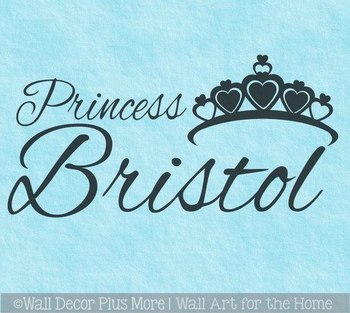 Personalized Princess Wall Words with Crown Girls Wall Decal Stickers WD223