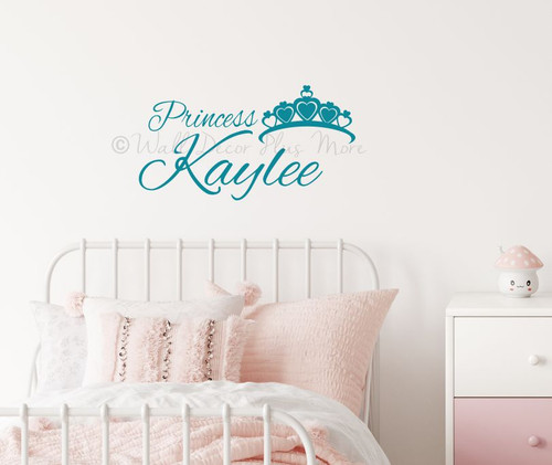 Personalized Princess Wall Words with Crown Girls Wall Decal Stickers Teal