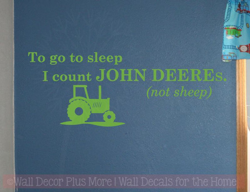 To go to Sleep I count John Deeres (not Sheep) Boy's Bedroom Decor-Lime Green
