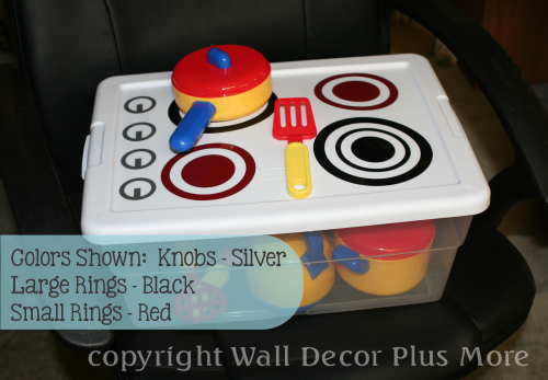 DIY play stove Decal Stickers on tote lid
