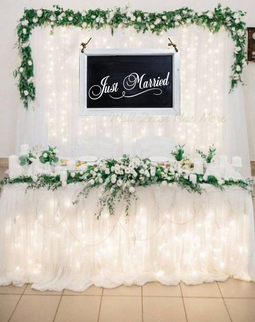 Just Married Cursive Lettering With Swirl Wedding Decor Reception Removable wall art sticker