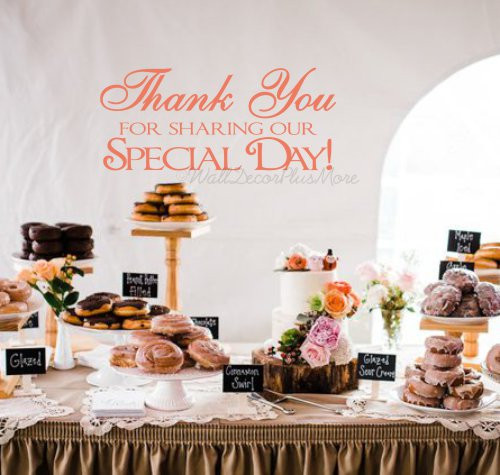 Thank You For Sharing Our Special Day  Wall Decor Sticker Saying Wedding Anniversary Party Decor Reception Removable wall art sticker Coral Pink