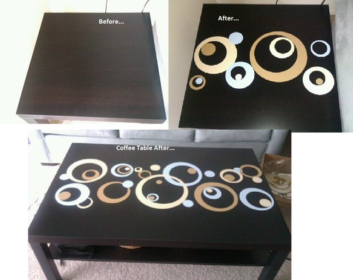 Wall Sticker Circles in Beige, Tan and Powder Blue used to decorate furniture