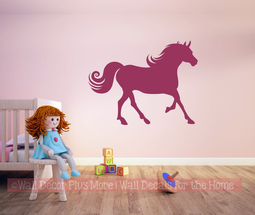 Horse Walking Silhouette Pony Wall Sticker Girls Bedroom Western Decal Wall Art Berry Pink