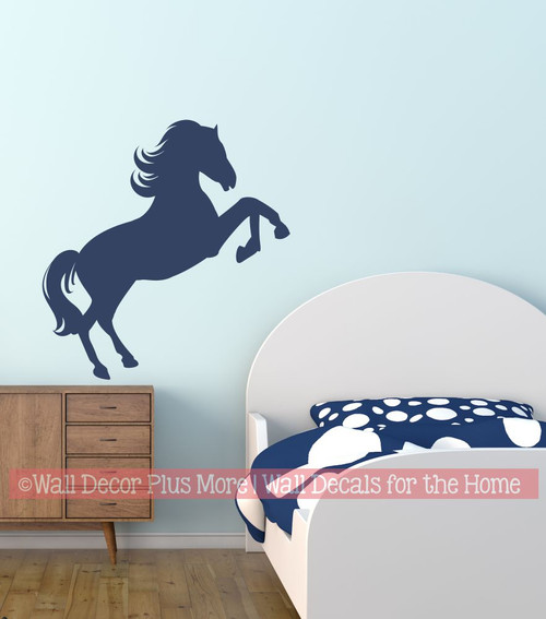 Jumping Horse Silhouette Wall Decal Sticker Boy Girl Bedroom Western Art Decor Deep Blue
