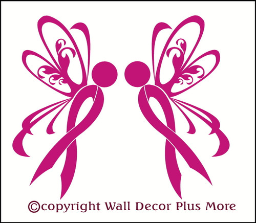 Ribbon With Wings Breast Cancer Awarenes Glossy Car Window Decals
