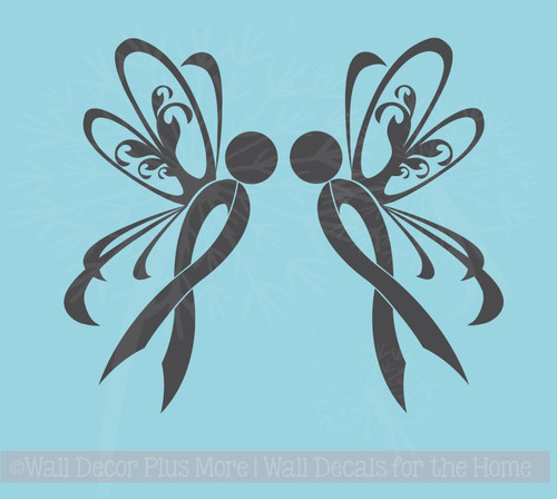 Ribbon with Wings Car Decal for Cancer Awareness