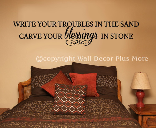 Inspirational Wall Decal Sticker Troubles Blessings