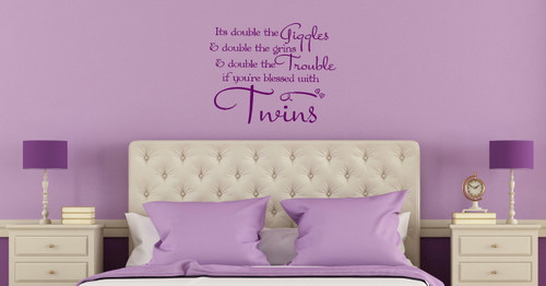 Double The Giggles, Grins & Trouble Twins Vinyl Wall Decal Quote for Bedroom Decor Plum
