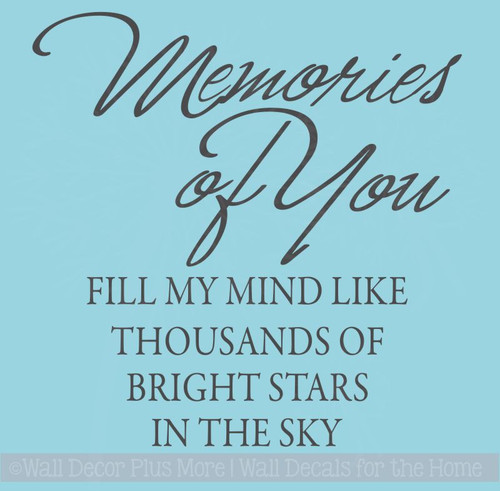 Memories of You...  Memory or Sympathy Wall Vinyl Decal Sticker Quote to fit a tile