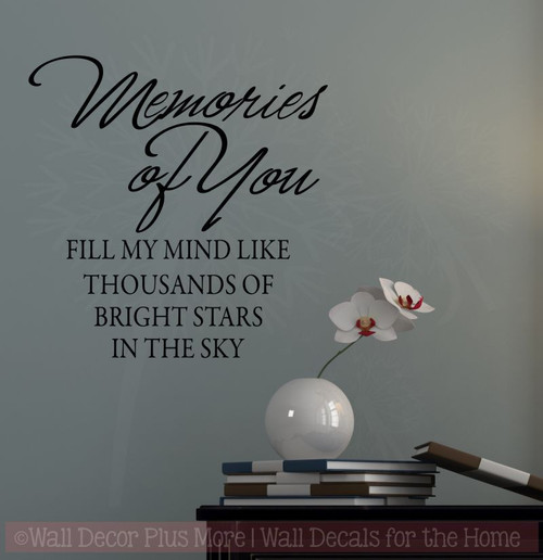 Memories of You...  Memory or Sympathy Wall Vinyl Decal Sticker Quote to fit a tile-Black