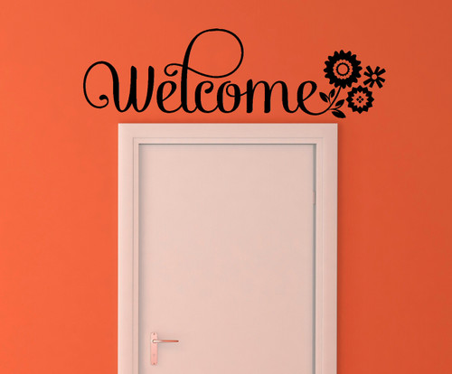 Welcome Wall Sticker Vinyl Decal Wall Letters with Flowers-Black