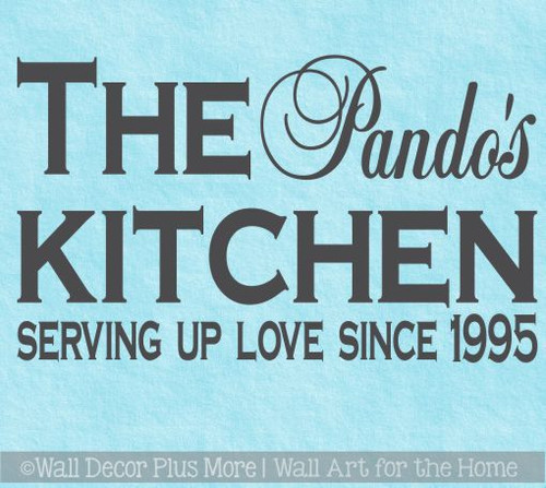 Personalized Kitchen Wall Decal - Serving Love Since... - Vinyl Sticker Decor Quote