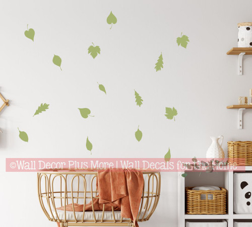 WD316 Fall Leaves Wall Decals Stickers Nursery Decor olive green